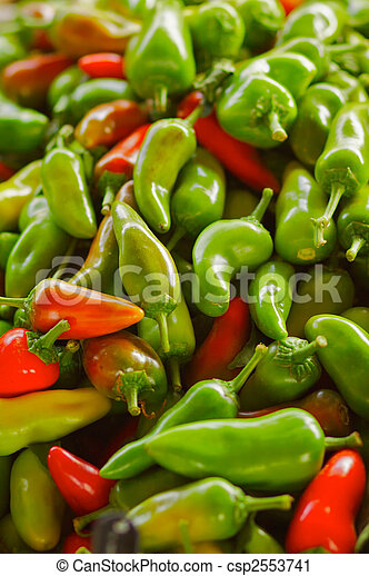 Red and Green Jalapeno Peppers - csp2553741