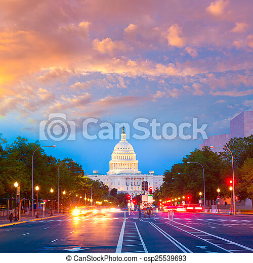 capitol, Pensilvânia,  Washington,  DC, pôr do sol,  ave - csp25539693