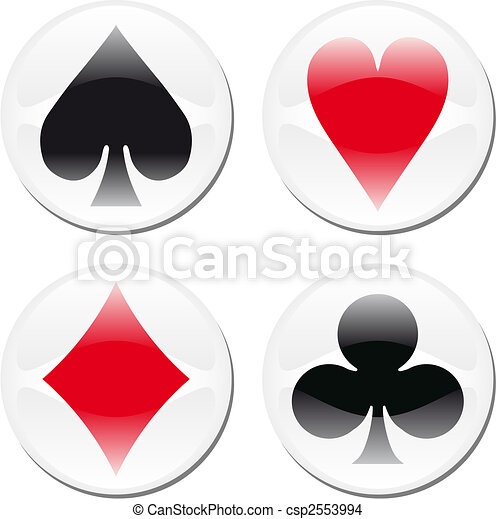 Poker card icons on white - csp2553994