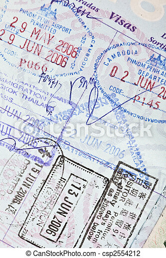 US Passport Visa Stamps to Cambodia, China & Thailand - csp2554212