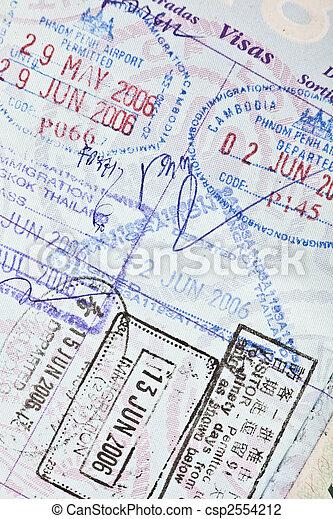 US Passport Visa Stamps to Cambodia, China & Thailand - csp2554212