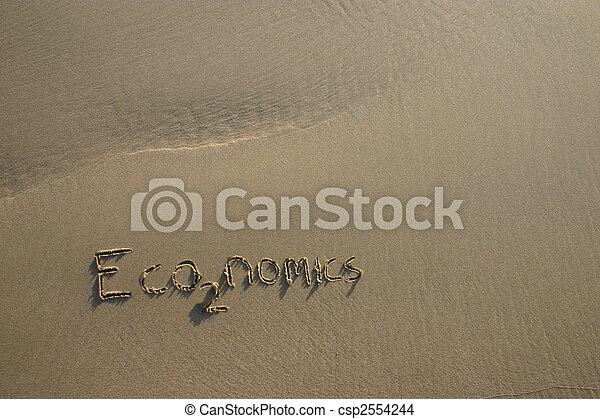 economics / co2 greenhouse gas concept written in the sand - csp2554244