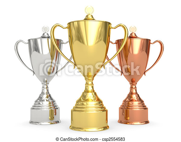 Golden, silver and bronze trophy cups on white - csp2554583