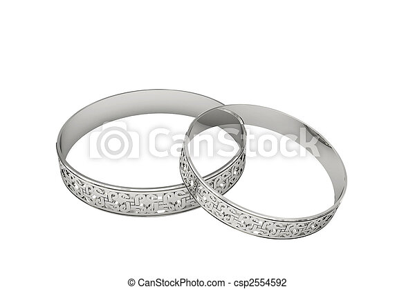 Silver or platinum wedding rings with magic tracery - csp2554592