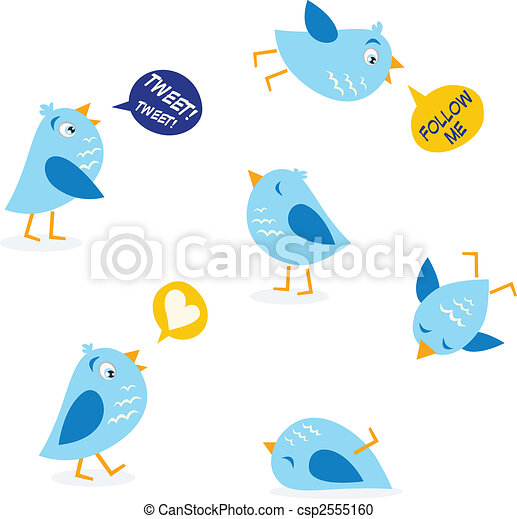Twitter message birds set - csp2555160