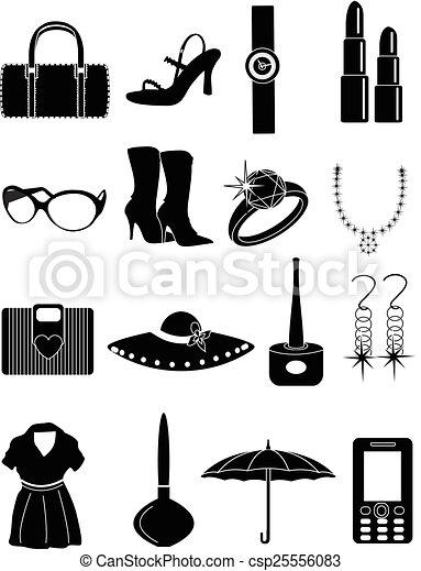 Vector , damas, Moda, accesorios, iconos