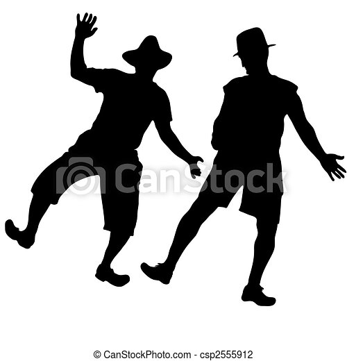 Two mens in hats dancing burlesque dance - csp2555912