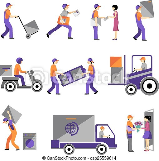 Vector Clip Art of Delivery, courier service, person freight ...