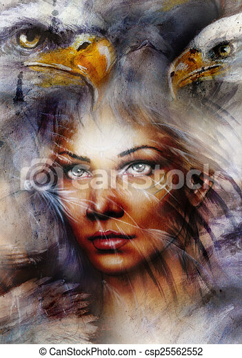 Stock Illustrations Of Beautiful Painting Woman With A ...