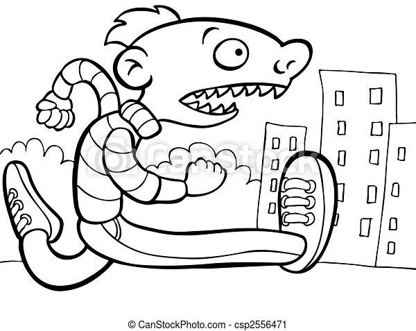 Rushing Man Line Art - csp2556471