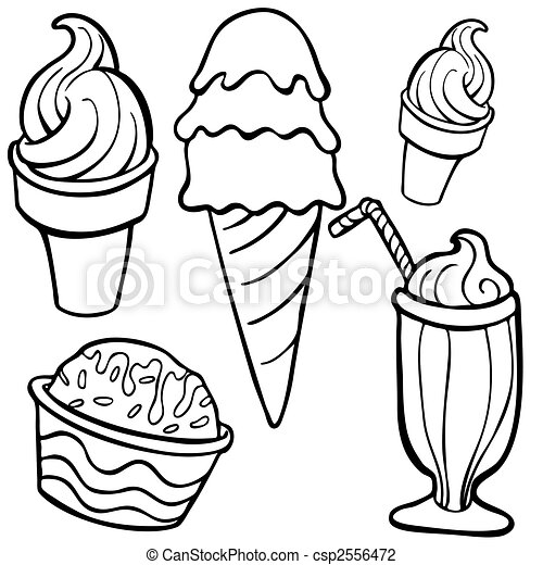 ice cream Food Items line art - csp2556472