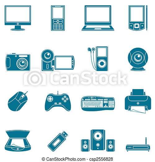 Computer and media icons. - csp2556828