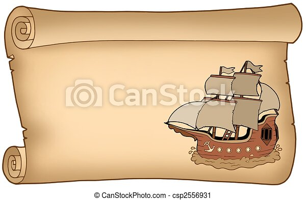 Parchment with old ship - csp2556931