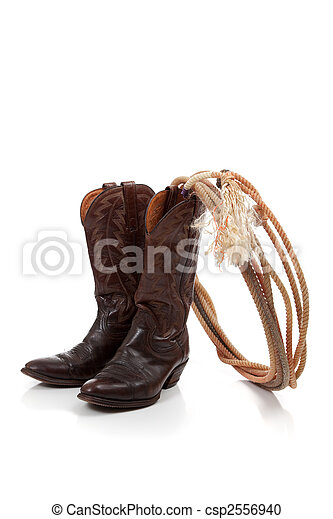 Brown leather cowboy boots on white - csp2556940