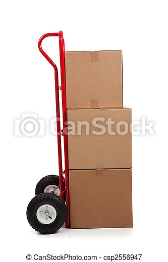 Brown cardboard moving box on white with a fragile sticker - csp2556947