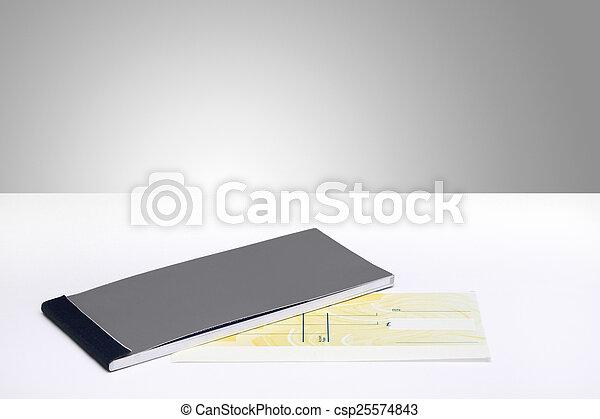 libro, cheque, blanco - csp25574843