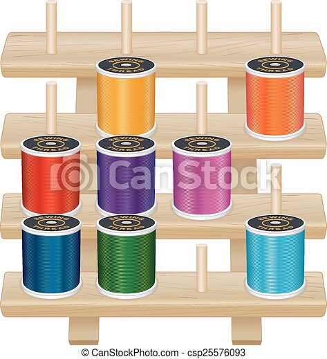 Vectors of Wood Rack, Needle, Sewing Threads - Four shelf pine wood ...