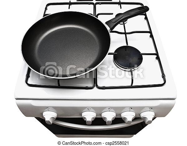 frying pan at the gas stove - csp2558021