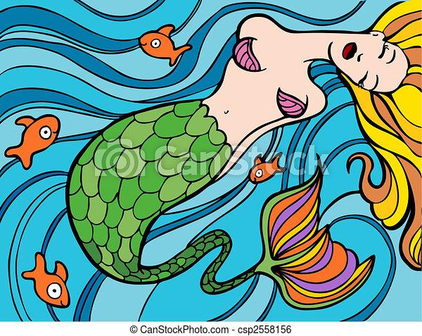 Mermaid Swimming Drawings Mermaid Swimming Csp2558156