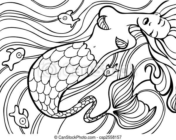 Mermaid Swimming Drawings Mermaid Swimming Csp2558157