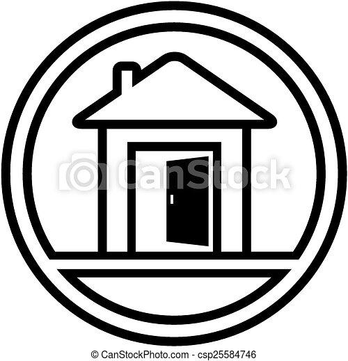 Open Door Icon Vector Icon With House And Open Door