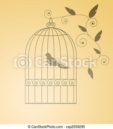 Siluet bird in a cage - csp2559295