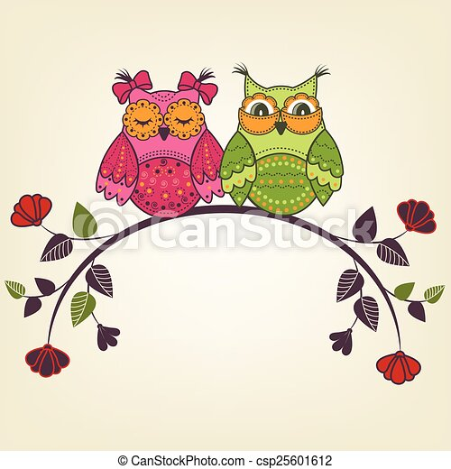 Two Owls On Branch Clip Art Vector Clip Art ...