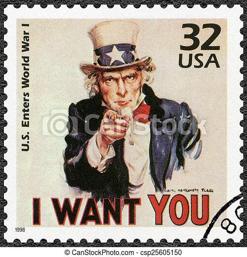 USA - 1998: shows Uncle Sam, U.S. enters World War I, series Cel - csp25605150