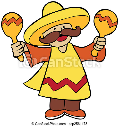 Mexican Maraca Player Isolated - csp2561478
