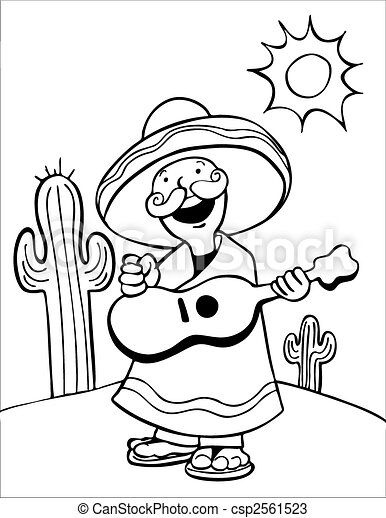 Mexican Guitar Player Line Art - csp2561523