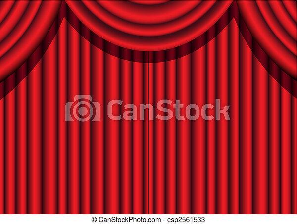 red velvet curtain - csp2561533
