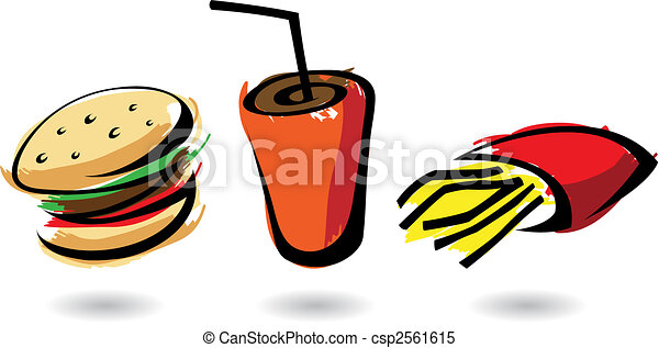 colourful fast food icons - csp2561615