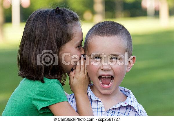 Kids Telling Secrets - csp2561727