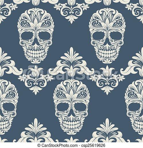 Decorated Skulls Drawings Skull Swirl Decorative Pattern