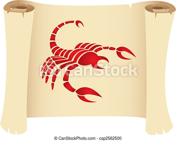 Scorpio on a manuscript - csp2562500