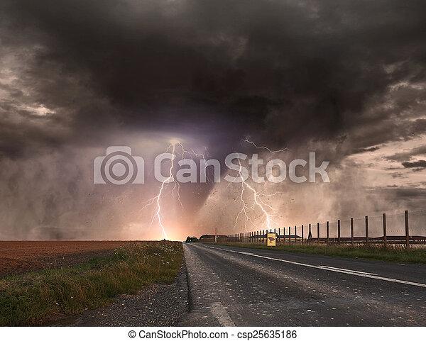 Large Tornado disaster - csp25635186