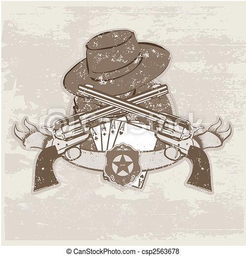 two guns and hat - csp2563678
