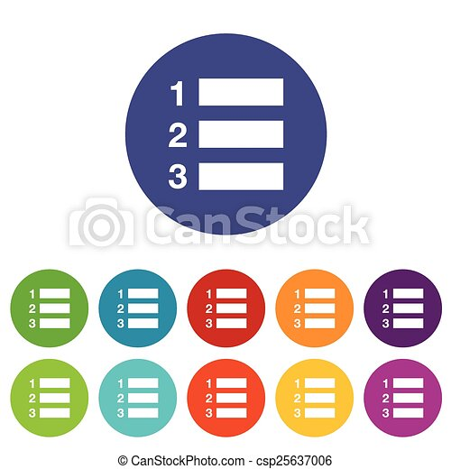 Vector Clipart of Numbered list flat icon - Numbered list web flat ...