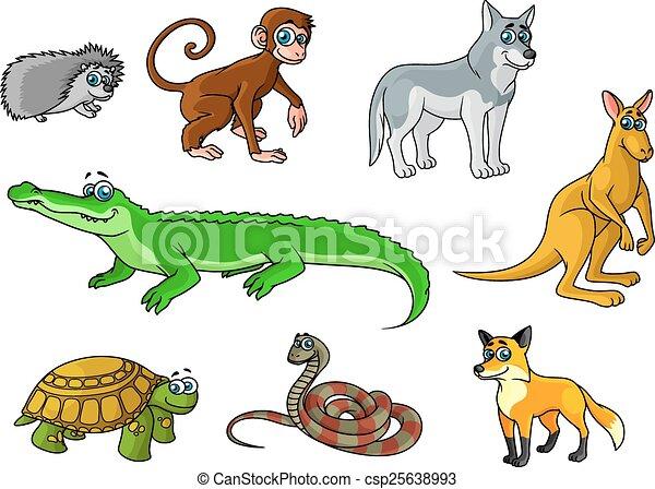 EPS vectores de salvaje, bosque, animales, selva, caricatura ...