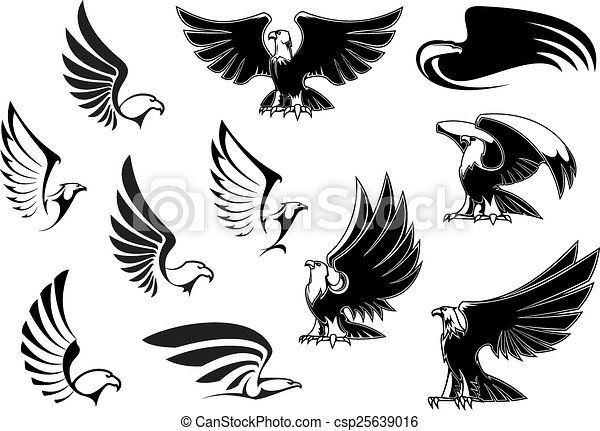 Vector Clip Art of Eagles for logo, tattoo or heraldic design ...