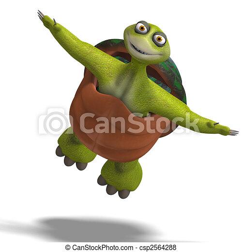 funny toon turtle enjoys life - csp2564288