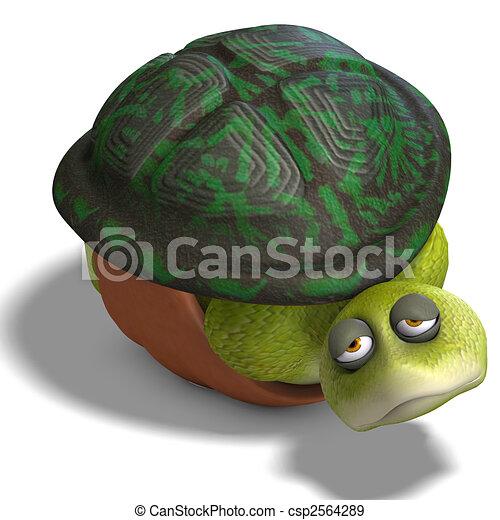 funny toon turtle enjoys life - csp2564289