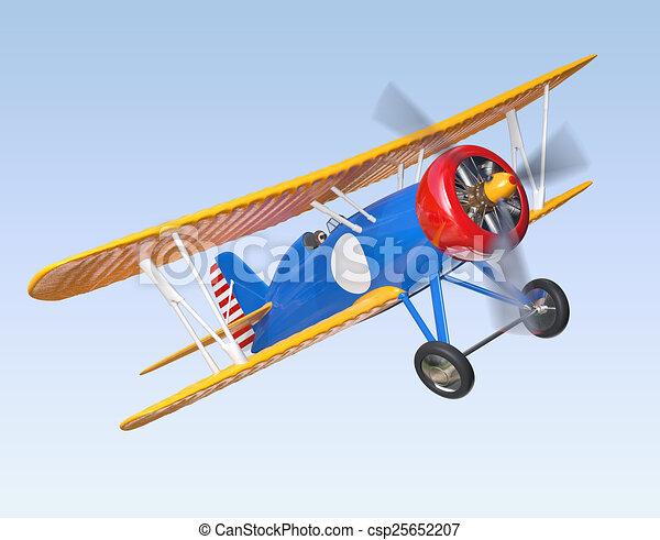 青, 複葉機, 飛行, 黄色 - csp2565... 黄色, そして, 青, 複葉機, 飛行,