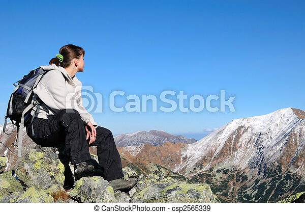 Relax on hiking - view on mountains - csp2565339