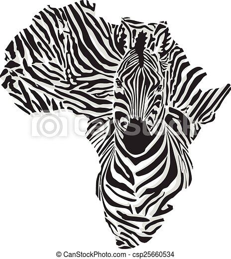 Map of Africa with the head giraffe - csp25660534