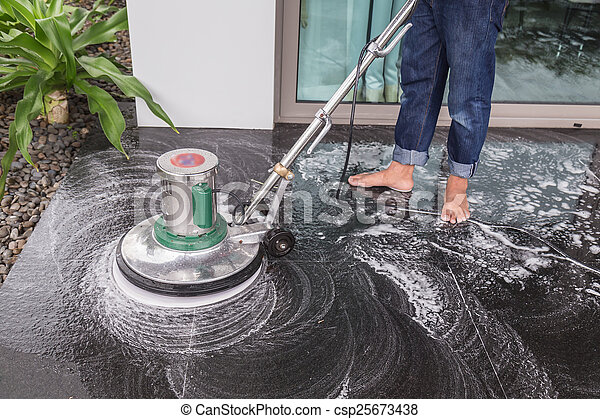Floor cleaning with big machine