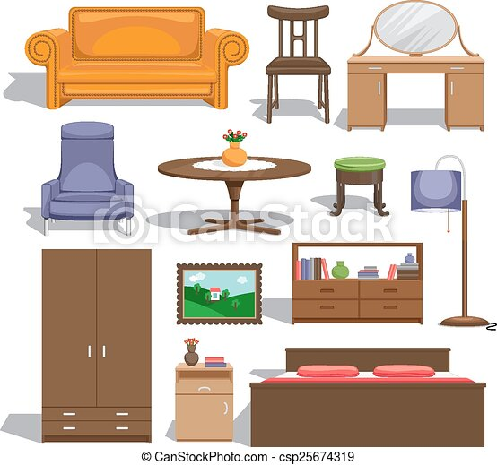 clip art vecteur de meubles chambre coucher lampe table chaise image csp25674319. Black Bedroom Furniture Sets. Home Design Ideas