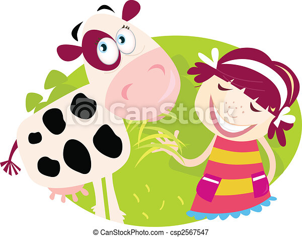Farm girl with small cow - csp2567547
