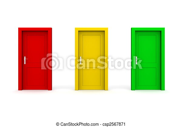 Three Coloured Doors - Red, Yellow, Green - csp2567871