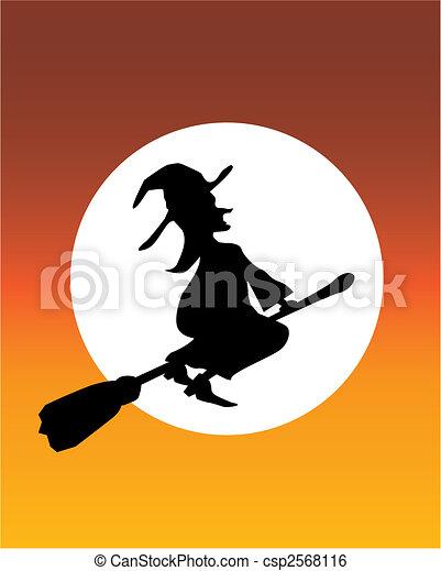 Clip Art Vector of witch orange moon - illustration of a witch flying ... Orange Moon Clipart